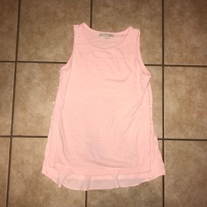 Pretty pink loft tank with side buttons